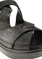 Divarese Dolgu Topuklu %100 Deri Sandalet Siyah